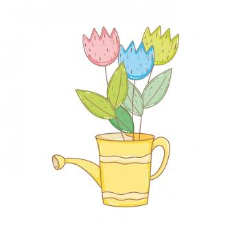 Regador de chuveiro de jardineiro com flores