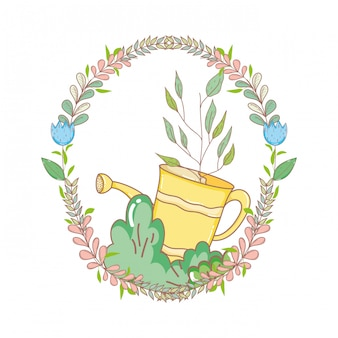 Regador de chuveiro de jardineiro com grinalda