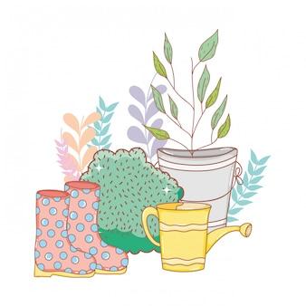 Regador de chuveiro jardineiro com botas