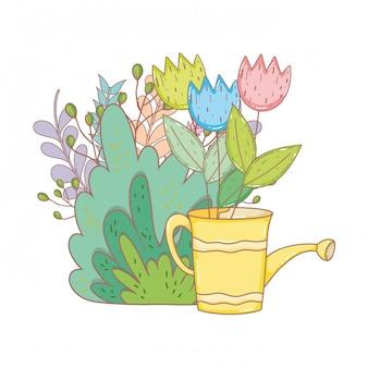 Regador de chuveiro jardineiro com folhas e flores