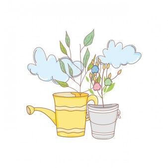Regador de chuveiro jardineiro com folhas