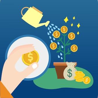 Regador e crescente árvore de dinheiro