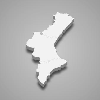 Região 3d da espanha Vetor Premium