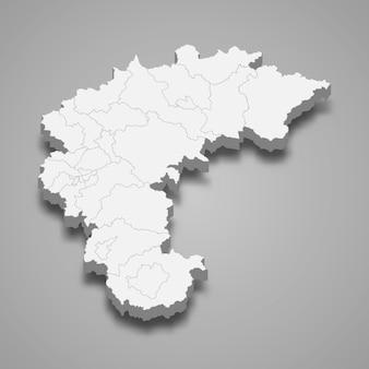 Região do mapa 3d da coreia do sul