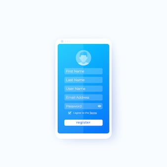 Registrar, interface do usuário do aplicativo móvel
