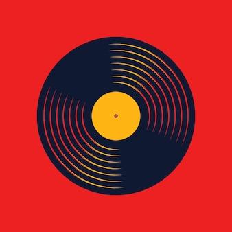 Registro de música de vinil. projeto de disco de áudio retrô. disco de gramofone vintage com maquete de capa. ilustração vetorial.