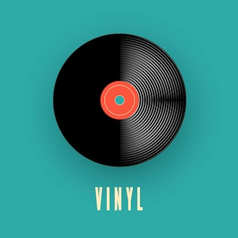 Registro de música de vinil. velho disco de gramofone vintage. ilustração