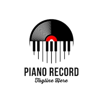 Registro de vinil e logotipo do piano key music instrument
