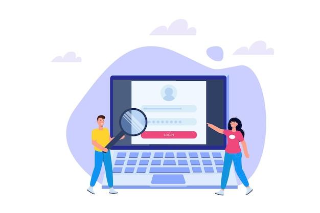 Registro e inscrição online, conceito de autenticação de conta. ilustração em vetor interface do usuário.