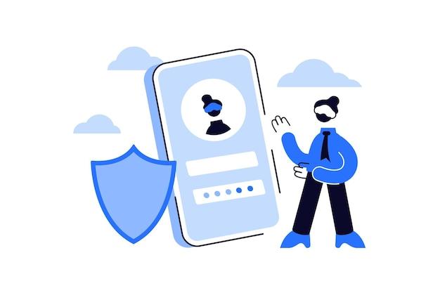 Registro móvel online ou interface de usuário de inscrição