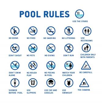 Regras da piscina. Conjunto de ícones e símbolo para pool.