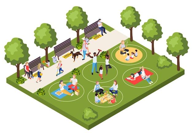 Regras de comportamento para pessoas caminhando e relaxando no parque da cidade durante a composição isométrica pandêmica