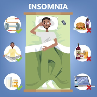Regras de sono saudável. rotina de dormir para dormir bem à noite. homem deitado no travesseiro. brochura para pessoas com insônia. ilustração em vetor plana isolada