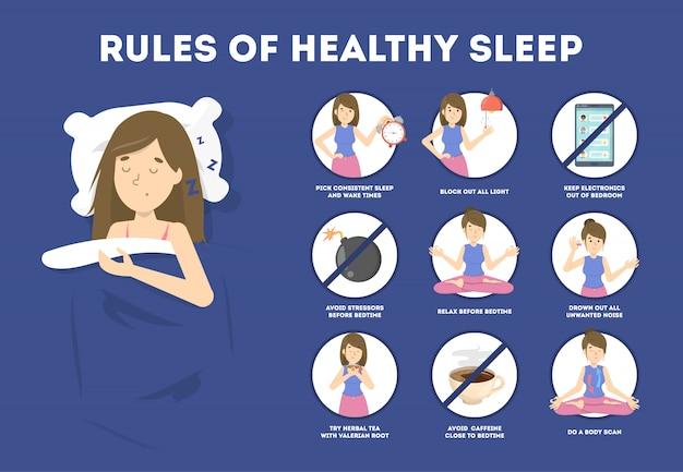 Regras de sono saudável. rotina de dormir para dormir bem à noite.