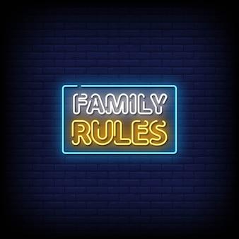 Regras família com sinais néon estilo texto