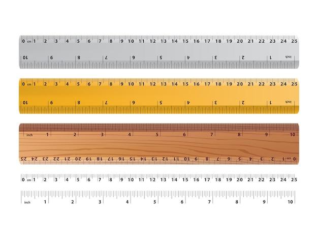 Réguas e indicadores de tamanho da régua