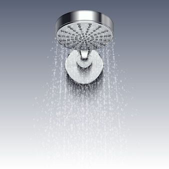 Regue a cabeça do metal com os trickles da água isolados no fundo branco. chuveiro para banho, higiene da água
