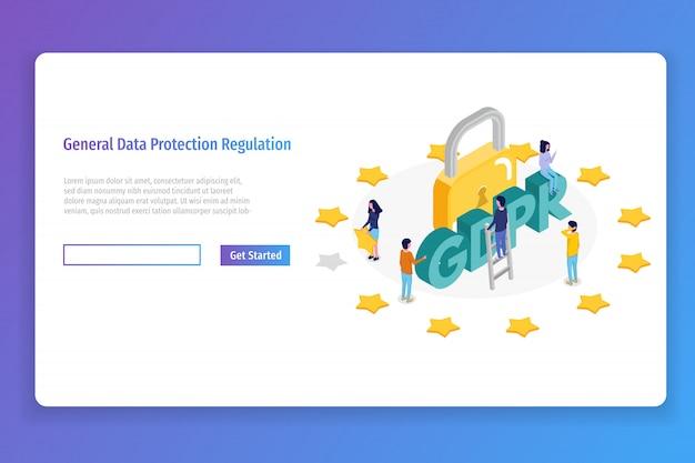 Regulamento geral de proteção de dados - conceito isométrico do gdpr. ilustração vetorial
