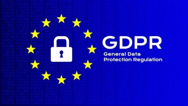 Regulamento geral de proteção de dados. fundo do vetor com texto e ícones.