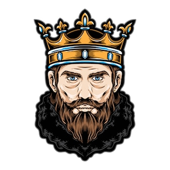 Rei cabeça vector logo e ícone