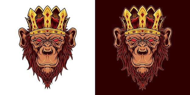 Rei chimpanzé cabeça mascote logo ilustração