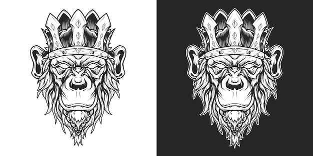 Rei chimpanzé logotipo linha arte