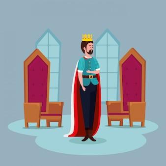 Rei com cadeiras no conto de fadas do castelo