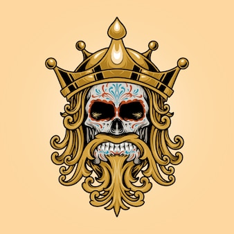 Rei coroa caveira dia de los muertos logotipo ilustrações ouro