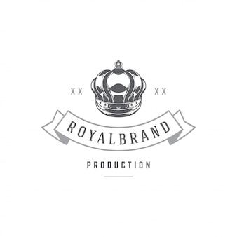 Rei coroa emblema modelo com tipografia.