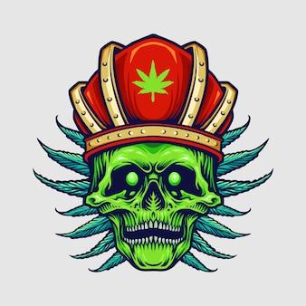 Rei coroa vermelha com raiva crânio folhas de erva