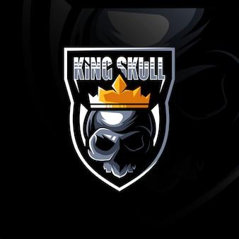 Rei crânio mascote logotipo esport design