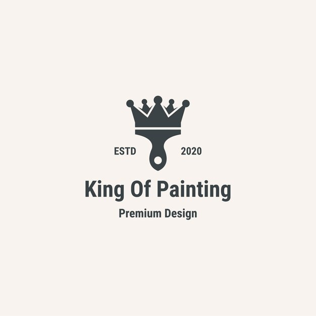 Rei da pintura do logotipo. logotipo do estilo vintage.