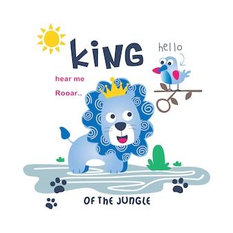 Rei da selva engraçado dos desenhos animados de animais, ilustração vetorial