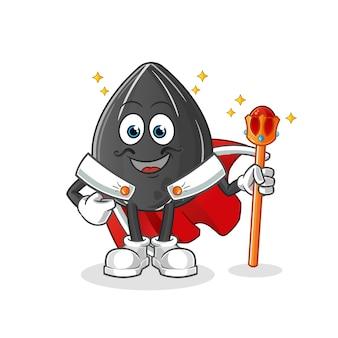 Rei da semente de girassol. personagem de desenho animado