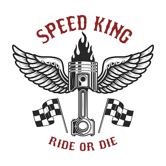 Rei da velocidade. pistão do carro com asas. elemento para cartaz, cartão, banner, panfleto. imagem
