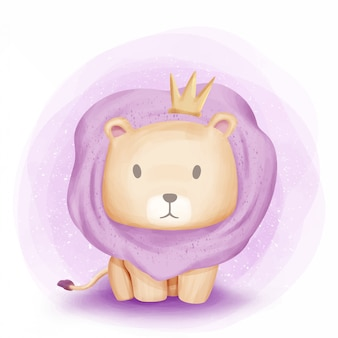 Rei de bebê leão de aquarela de selva
