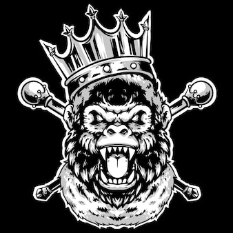 Rei de cabeça de gorila com coroa e ouro mascote design