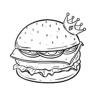 Rei de hambúrguer com coroa e parece tão delicioso usando estilo mão desenhada