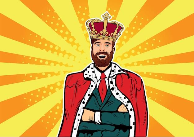 Rei de negócios de pop art hipster com barba e coroa
