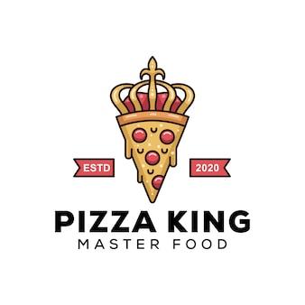 Rei de pizza moderno para modelo de design de logotipo de comida de negócios