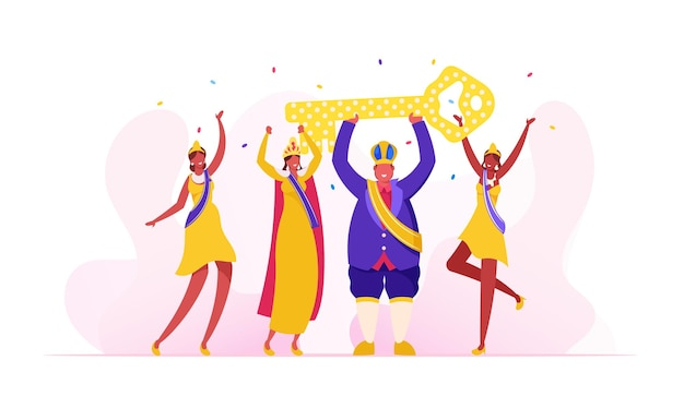 Rei do carnaval do rio usando vestido real festivo e coroa segurando uma enorme chave dourada acima da cabeça, desenho animado ilustração plana