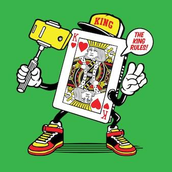 Rei do personagem de selfie de cartão de coração