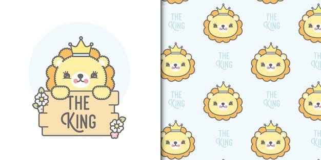 Rei dos desenhos animados com coroa segurando a placa de madeira e padrão sem emenda. ilustração