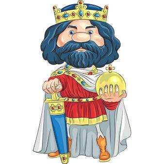 Rei dos desenhos animados com uma ilustração da coroa de ouro