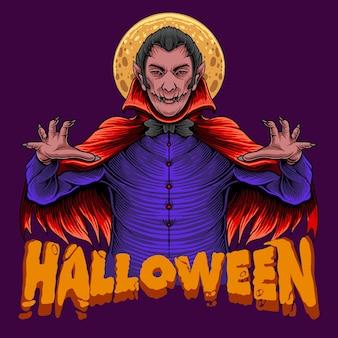 Rei drácula assustador de halloween com lua