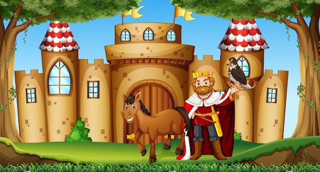 Rei e cavalo no castelo