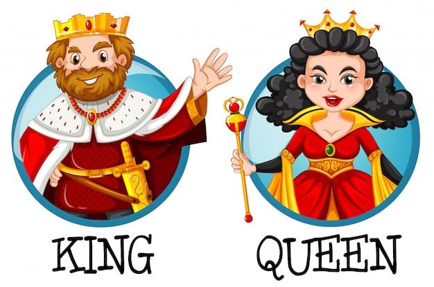 Rei e rainha em emblemas redondos