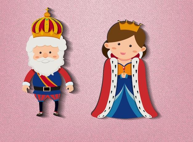 Rei e rainha personagem de desenho animado em fundo rosa
