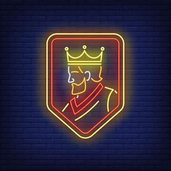 Rei em sinal de néon de escudo.