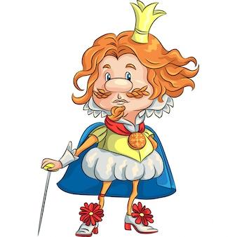 Rei engraçado dos desenhos animados com uma ilustração da coroa de ouro
